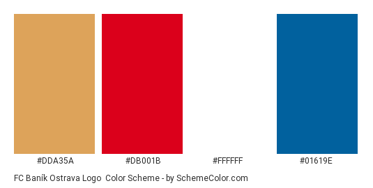 FC Baník Ostrava Logo - Color scheme palette thumbnail - #dda35a #db001b #ffffff #01619e