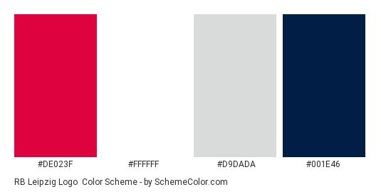RB Leipzig Logo - Color scheme palette thumbnail - #de023f #ffffff #d9dada #001e46