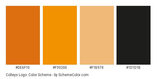 Colleys Logo - Color scheme palette thumbnail - #de6f10 #f39200 #f1b978 #1d1d1b