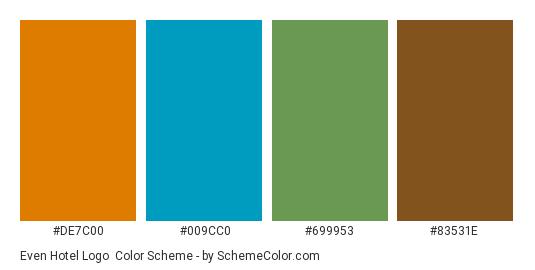Even Hotel Logo - Color scheme palette thumbnail - #de7c00 #009cc0 #699953 #83531e