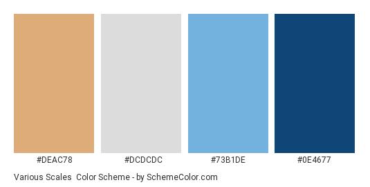 Various Scales - Color scheme palette thumbnail - #deac78 #dcdcdc #73b1de #0e4677