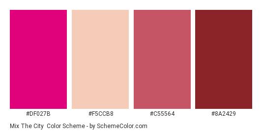 Mix the City - Color scheme palette thumbnail - #df027b #f5ccb8 #c55564 #8a2429