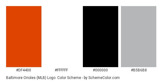 Baltimore Orioles (MLB) Logo - Color scheme palette thumbnail - #df4400 #ffffff #000000 #b5b6b8
