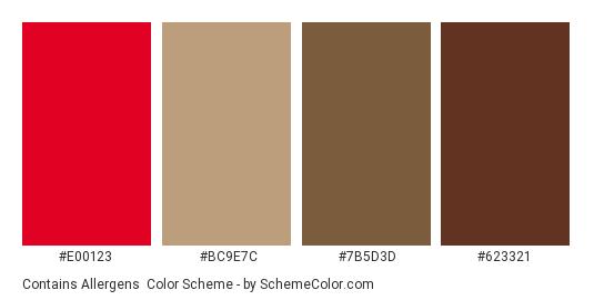 Contains Allergens - Color scheme palette thumbnail - #e00123 #bc9e7c #7b5d3d #623321