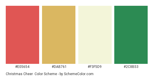 Christmas Cheer - Color scheme palette thumbnail - #e05654 #dab761 #f3f5d9 #2c8b53