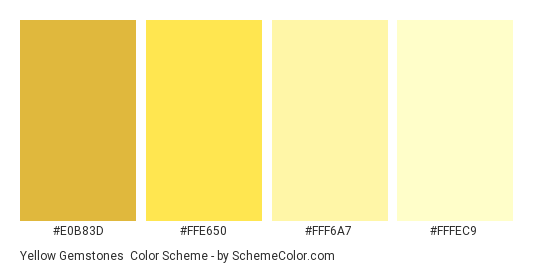 Yellow Gemstones - Color scheme palette thumbnail - #e0b83d #ffe650 #fff6a7 #fffec9