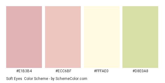 Soft Eyes - Color scheme palette thumbnail - #e1b3b4 #ecc6bf #fffae0 #d8e0a8