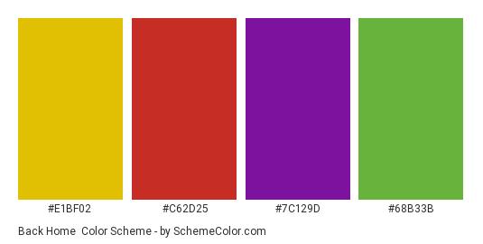 Back Home - Color scheme palette thumbnail - #e1bf02 #c62d25 #7c129d #68b33b