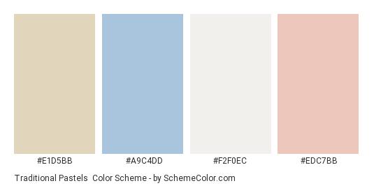 Traditional Pastels - Color scheme palette thumbnail - #e1d5bb #a9c4dd #f2f0ec #edc7bb