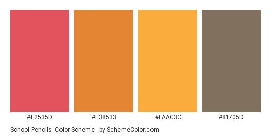 School Pencils - Color scheme palette thumbnail - #e2535d #e38533 #faac3c #81705d