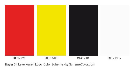 Bayer 04 Leverkusen Logo - Color scheme palette thumbnail - #e32221 #f3e500 #1a171b #fbfbfb