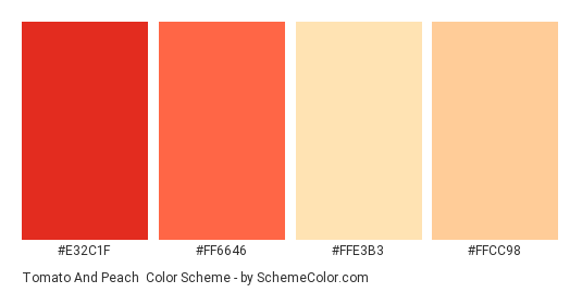 Tomato and Peach - Color scheme palette thumbnail - #e32c1f #ff6646 #ffe3b3 #ffcc98