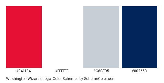 Washington Wizards Logo - Color scheme palette thumbnail - #e41134 #ffffff #c6cfd5 #00265b