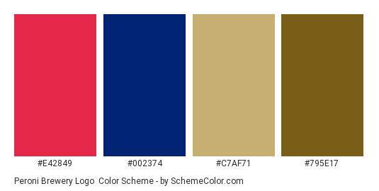 Peroni Brewery Logo - Color scheme palette thumbnail - #e42849 #002374 #c7af71 #795e17