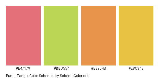 Pump Tango - Color scheme palette thumbnail - #e47179 #bbd554 #e8954b #e8c343