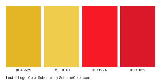 Lestoil Logo - Color scheme palette thumbnail - #e4b625 #efcc4c #f71924 #db1829