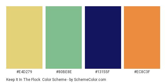 Keep it in the Flock - Color scheme palette thumbnail - #e4d279 #80be8e #13155f #ec8c3f
