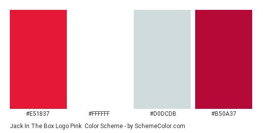 Jack in the Box Logo Pink - Color scheme palette thumbnail - #e51837 #ffffff #d0dcdb #b50a37