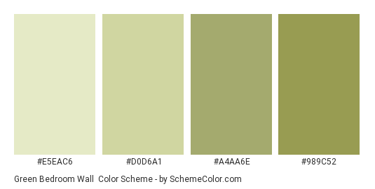 Green Bedroom Wall - Color scheme palette thumbnail - #e5eac6 #d0d6a1 #a4aa6e #989c52