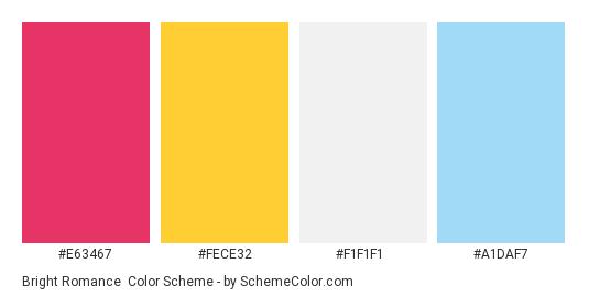 Bright Romance - Color scheme palette thumbnail - #e63467 #fece32 #f1f1f1 #a1daf7