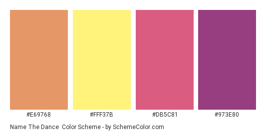 Name the Dance - Color scheme palette thumbnail - #e69768 #fff37b #db5c81 #973e80