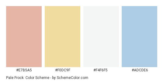 Pale Frock - Color scheme palette thumbnail - #e7b5a5 #f0dc9f #f4f6f5 #adcde6