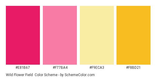 Wild Flower Field - Color scheme palette thumbnail - #e81b67 #f77ba4 #f9eca3 #f8bd21