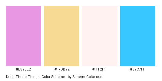 Keep Those Things - Color scheme palette thumbnail - #e898e2 #f7db92 #fff2f1 #39c7ff