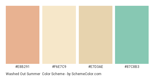 Washed out Summer - Color scheme palette thumbnail - #e8b291 #f6e7c9 #e7d3ae #87c8b3