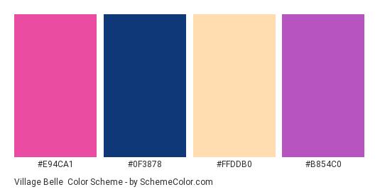 Village Belle - Color scheme palette thumbnail - #e94ca1 #0f3878 #ffddb0 #b854c0