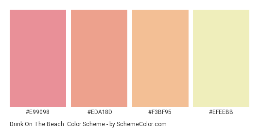 Drink on the Beach - Color scheme palette thumbnail - #e99098 #eda18d #f3bf95 #efeebb