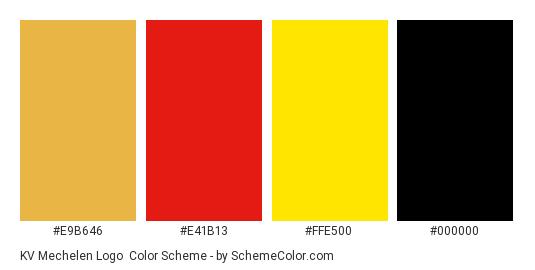 KV Mechelen Logo - Color scheme palette thumbnail - #e9b646 #e41b13 #ffe500 #000000