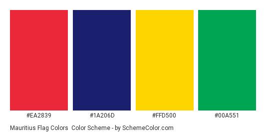 Mauritius Flag Colors - Color scheme palette thumbnail - #ea2839 #1a206d #ffd500 #00a551