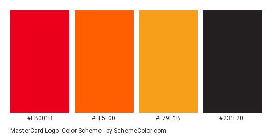 MasterCard Logo - Color scheme palette thumbnail - #eb001b #ff5f00 #f79e1b #231f20
