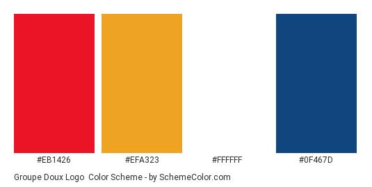 Groupe Doux Logo - Color scheme palette thumbnail - #eb1426 #efa323 #ffffff #0f467d