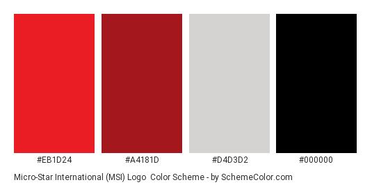 Micro-Star International (MSI) Logo - Color scheme palette thumbnail - #eb1d24 #a4181d #d4d3d2 #000000