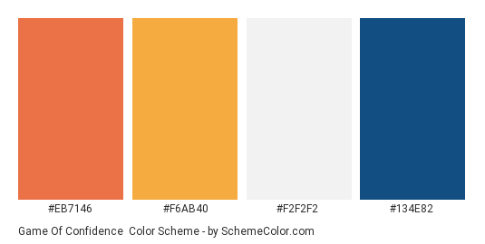 Game of Confidence - Color scheme palette thumbnail - #eb7146 #f6ab40 #f2f2f2 #134e82