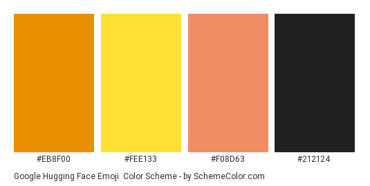 Google Hugging Face Emoji - Color scheme palette thumbnail - #eb8f00 #fee133 #f08d63 #212124