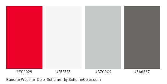 Banorte Website - Color scheme palette thumbnail - #ec0029 #f5f5f5 #c7c9c9 #6a6867