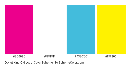 Donut King Old Logo - Color scheme palette thumbnail - #ec008c #ffffff #43bcdc #fff200