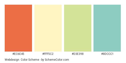 Webdesign - Color scheme palette thumbnail - #ec6e45 #fff5c2 #d3e398 #8dccc1