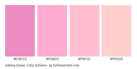 Getting Closer - Color scheme palette thumbnail - #ec8cc2 #ffabd3 #ffbfce #ffd0cd