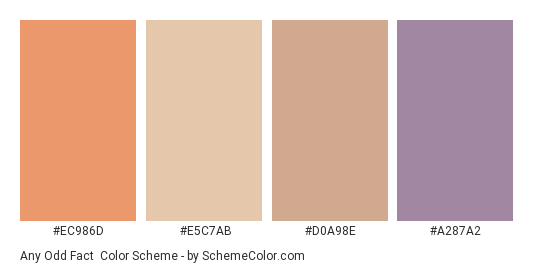 Any Odd Fact - Color scheme palette thumbnail - #ec986d #e5c7ab #d0a98e #a287a2
