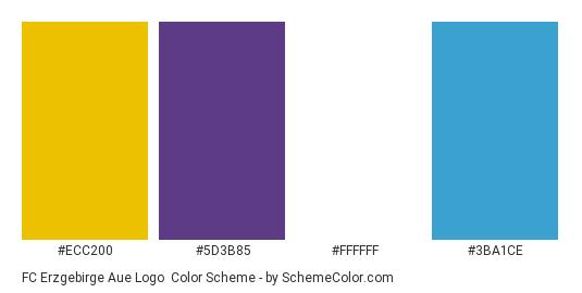FC Erzgebirge Aue Logo - Color scheme palette thumbnail - #ecc200 #5d3b85 #ffffff #3ba1ce
