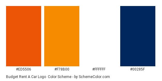 Budget Rent a Car Logo - Color scheme palette thumbnail - #ed5506 #f78b00 #ffffff #00285f