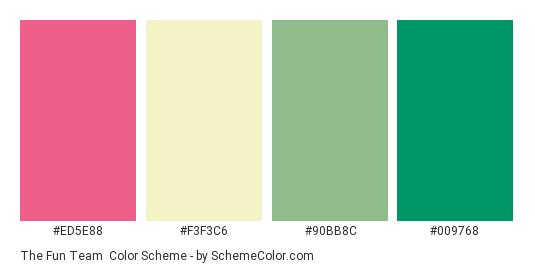 The Fun team - Color scheme palette thumbnail - #ed5e88 #f3f3c6 #90bb8c #009768