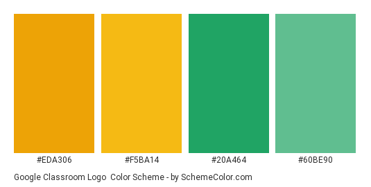 Google Classroom Logo - Color scheme palette thumbnail - #eda306 #f5ba14 #20a464 #60be90