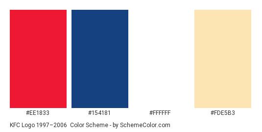 KFC Logo 1997–2006 - Color scheme palette thumbnail - #ee1833 #154181 #ffffff #fde5b3