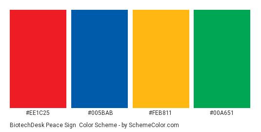 BiotechDesk Peace Sign - Color scheme palette thumbnail - #ee1c25 #005bab #feb811 #00a651