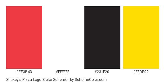 Shakey's Pizza Logo - Color scheme palette thumbnail - #ee3b43 #ffffff #231f20 #fede02